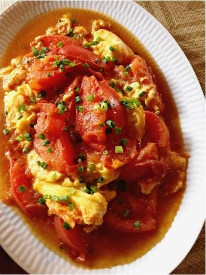 トマトと卵の甘酢炒め