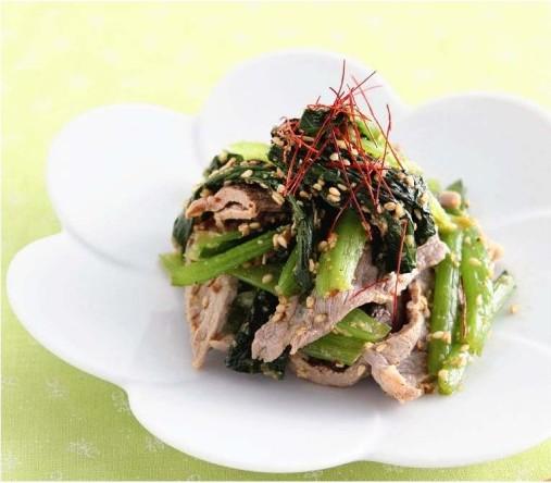 豚肉と小松菜のごまあえ