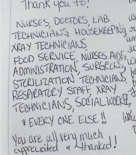 米国人夫妻の友人から山梨県立中央病院に届いた手紙の一部。看護師、医師、検査技師、清掃員…。全ての病院スタッフに対して感謝の気持ちがつづられている