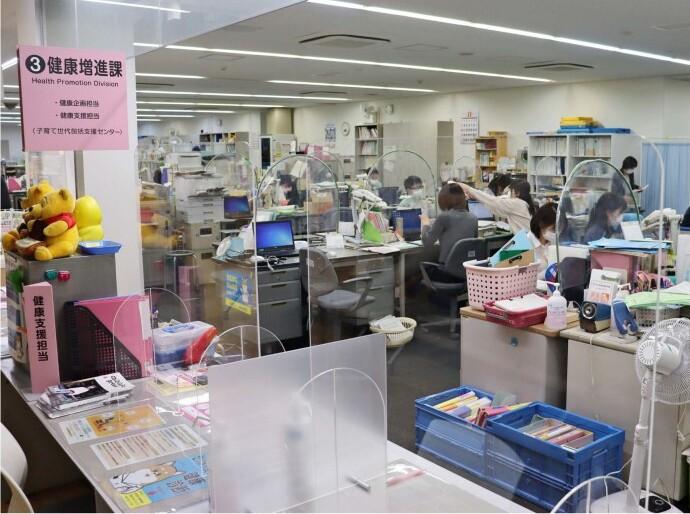 健康増進課を中心にワクチン接種の専門チームを立ち上げた山梨市=市役所