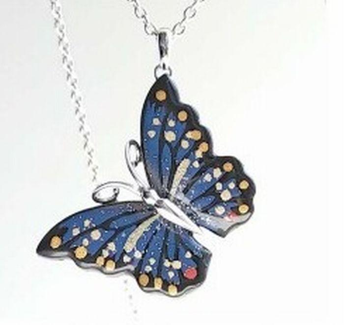 国蝶オオムラサキをモチーフにしたペンダント