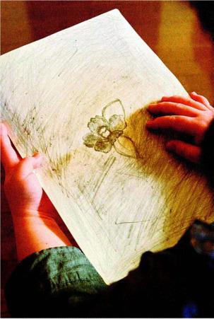 サトコが中学生のころに描いたツバキの絵。いまは鉛筆を手に取ることはほとんどない=国中地域(撮影・広瀬徹)