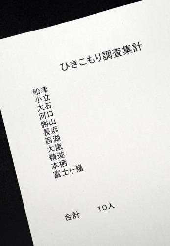 富士河口湖町が民生委員の報告を基にまとめた、ひきこもり当事者の調査結果。松浦信幸福祉推進課長は「10人という数は最少」と考えている