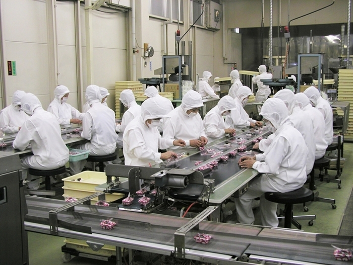 桔梗信玄餅の包装工程。一つ一つ風呂敷で手作業で包んでいる。一つを包む時間は、5秒という速さ。機械化が進む中で、ふわっとした手作りの温かさを大切にしている