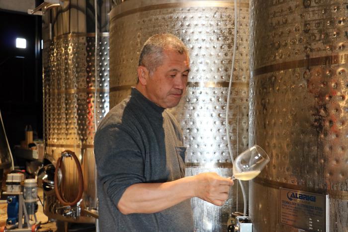 初仕込みの甲州種ワインの状態をチェックするためのテイスティング