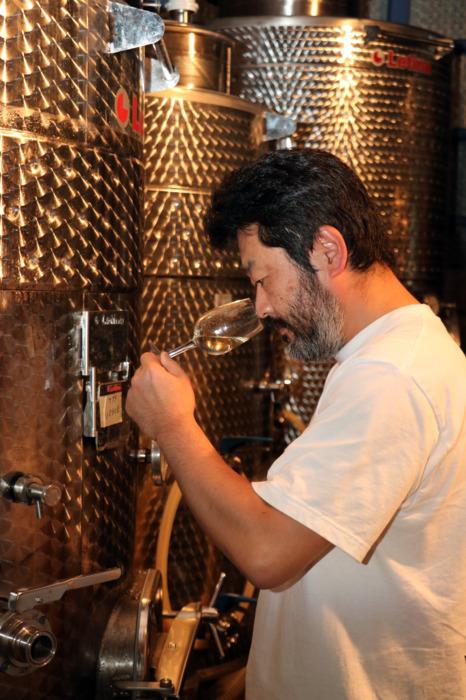 ステンレスタンクで貯蔵し瓶詰め前の甲州種ワインの状態を確認する仁林さん=いずれも甲州市勝沼町菱山