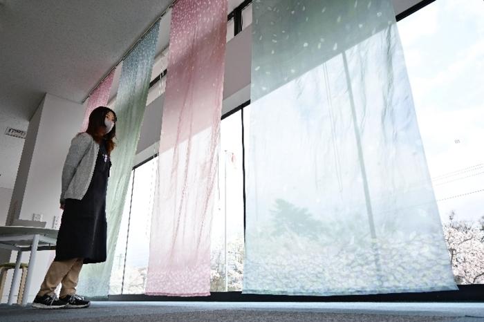 設置した郡内織物のカーテン=富士吉田市立図書館