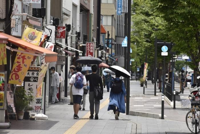 日差しを避けようと、日傘を差して歩く人=甲府市内