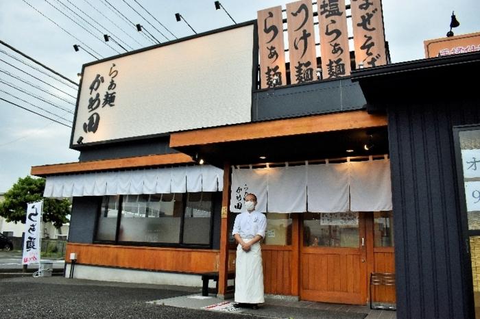 中央自動車道甲府昭和IC近くにオープンした「らぁ麺 かめ田」=昭和町西条