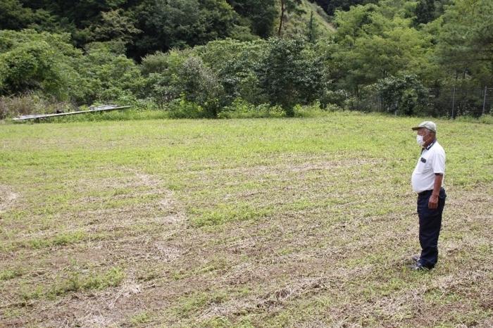 ソバを栽培していた畑を見つめる三枝輝男さん。「そば切り発祥の地」でソバを栽培する農家はゼロになった=甲州市大和町初鹿野