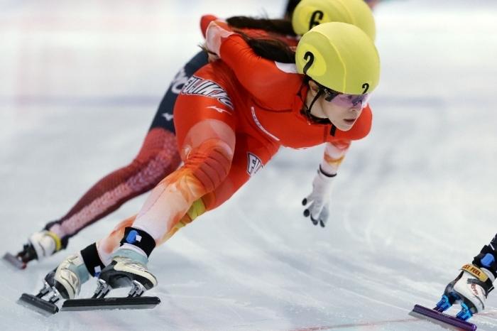 【全日本距離別ST】女子1000メートルで3位となった菊池純礼(富士急)=長野・帝産アイススケートトレーニングセンター(写真:アフロ/JSF)